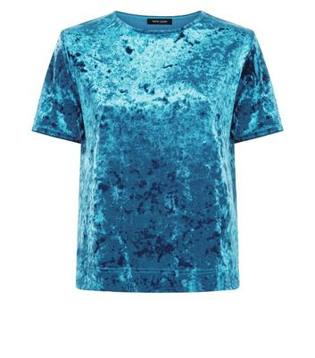 Teal Velvet T-Shirt New Look
