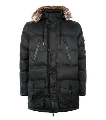 Black Quilted Parka Jacket New Look