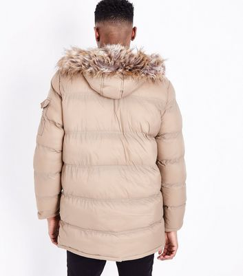 Stone Quilted Parka Jacket New Look