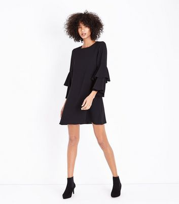 Black Tiered Sleeve Tunic Dress New Look