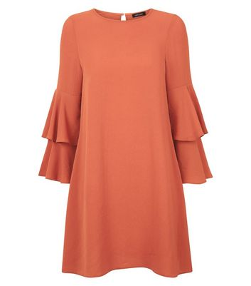 Rust Tiered Sleeve Tunic Dress New Look