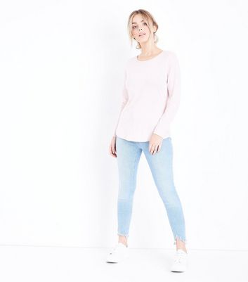 Petite Shell Pink Long Sleeve Crew Neck Top New Look
