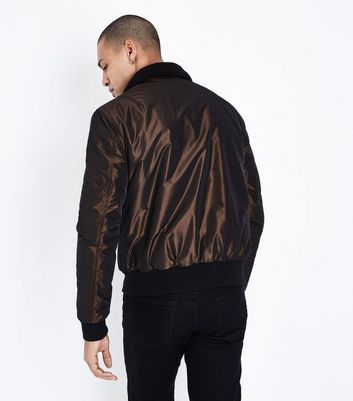 Bronze Borg Collar Bomber Jacket New Look