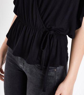 Black Wrap Front Kimono Top New Look