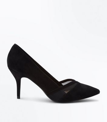 Wide Fit Black Comfort Flex Suedette Mesh Panel Courts New Look