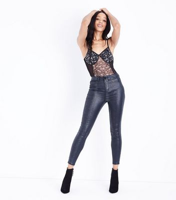 Black Floral Mesh Panel Bodysuit New Look