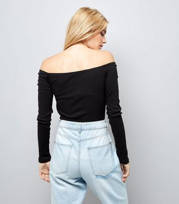 Black Ribbed Sweetheart Neck Top New Look