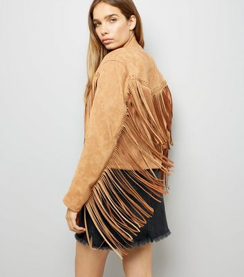 Cameo Rose Tan Suedette Tassel Jacket New Look