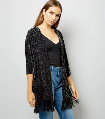 Black Velvet Burn Out Fringe Hem Kimono New Look