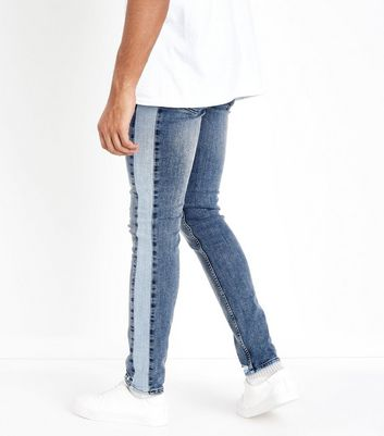 Blue Side Stripe Jeans New Look