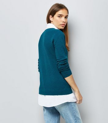 Apricot Blue 2 in 1 Layered Shirt Jumper New Look