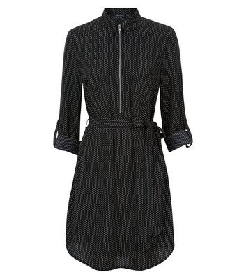 Black Spot Print Zip Front Shirt Dress New Look