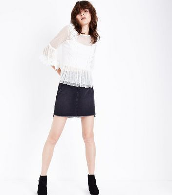 Cream Bell Sleeve Double Peplum Lace Top New Look