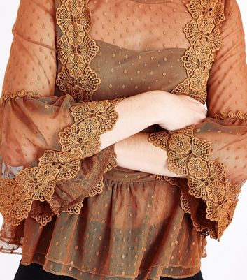 Rust Bell Sleeve Double Peplum Lace Top New Look