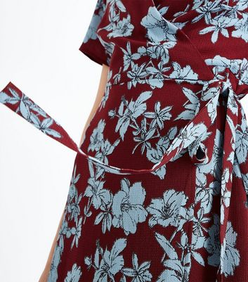 Red Floral Asymmetric Wrap Dress New Look