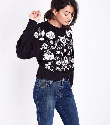Black Floral Embroidered Sweatshirt New Look