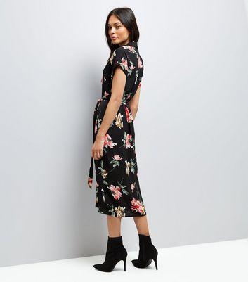 Black Floral Print Pocket Front Midi Shirt Dress New Look
