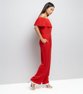Petite Red Frill Trim Bardot Neck Jumpsuit New Look