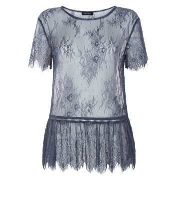 Grey Lace Ladder Trim Peplum Top New Look