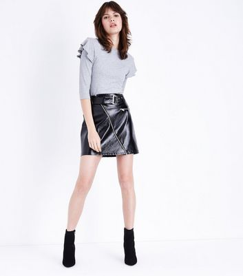 Grey Ribbed Frill Trim 3/4 Sleeve Top New Look