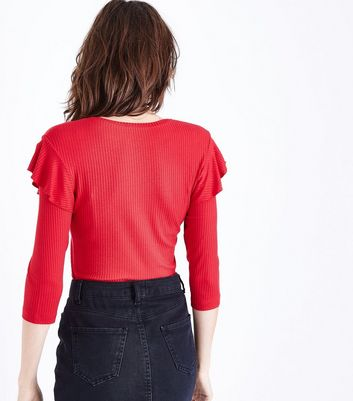 Red Ribbed Frill Trim 3/4 Sleeve Top New Look
