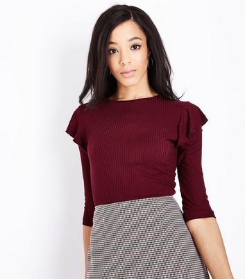 Burgundy Ribbed Frill Trim 3/4 Sleeve Top New Look