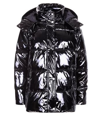 Noisy May Black Vinyl Hooded Puffer Jacket New Look