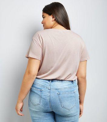 Curves Shell Pink No Regrets T-Shirt New Look