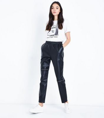Noisy May Black Leather-Look Zip Front Trousers New Look
