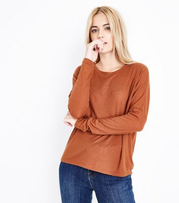 Rust Ribbed Batwing Sleeve Top New Look