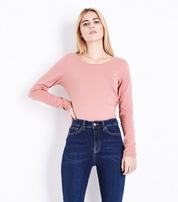 Pink Long Sleeve Crew Neck T-Shirt New Look