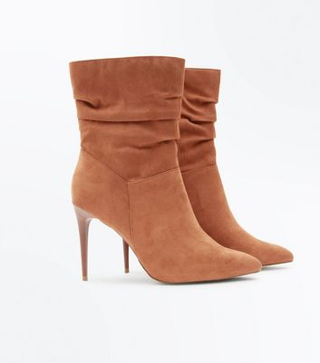 Tan Suedette Stiletto Heeled Calf Boots New Look