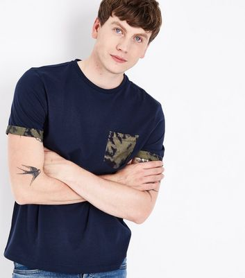 Navy Printed Pocket And Sleeve T-Shirt New Look