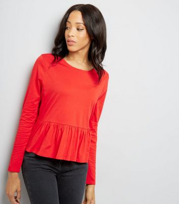 Red Long Sleeve Peplum Hem Top New Look