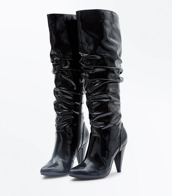 Black Patent Cone Heel Slouch Boots New Look