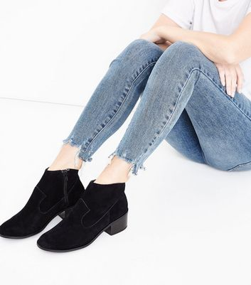 Black Comfort Suede Block Heel Western Boots New Look