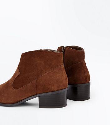 Tan Comfort Suede Block Heel Western Boots New Look