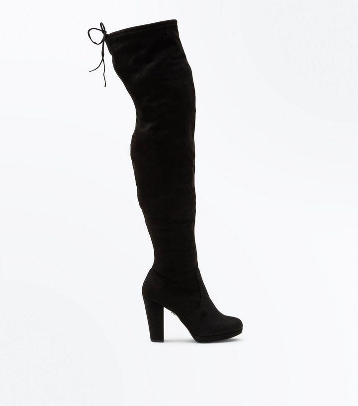 8d8af5665bc Black Comfort Suedette Platform Over the Knee Boots