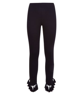 Black Tassel Hem Leggings New Look