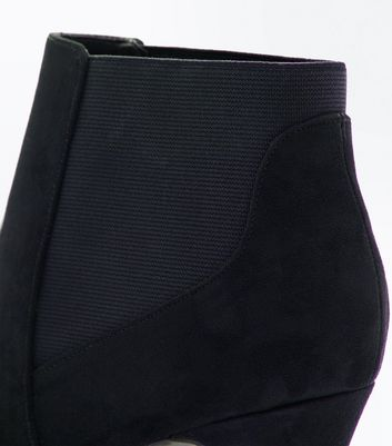 Black Comfort Suedette Cone Heel Ankle Boots New Look