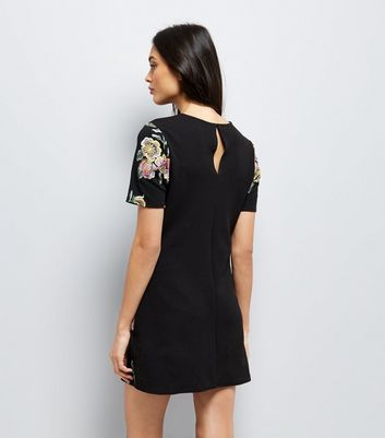 Black Floral Puff Print Tunic Dress New Look