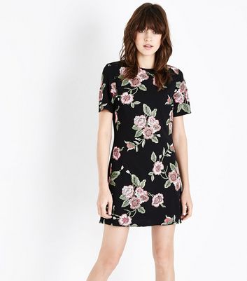 Pink Floral Puff Print Tunic Dress New Look