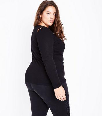 Curves Black Lattice Shoulder Long Sleeve Top New Look