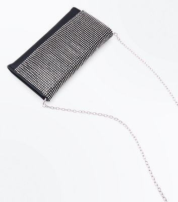 Black Diamante Embellished Clutch Bag New Look