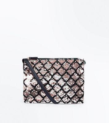Rose Gold Sequin Zip Top Shoulder Bag New Look