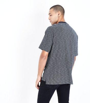 Navy Stripe Panel T-Shirt New Look