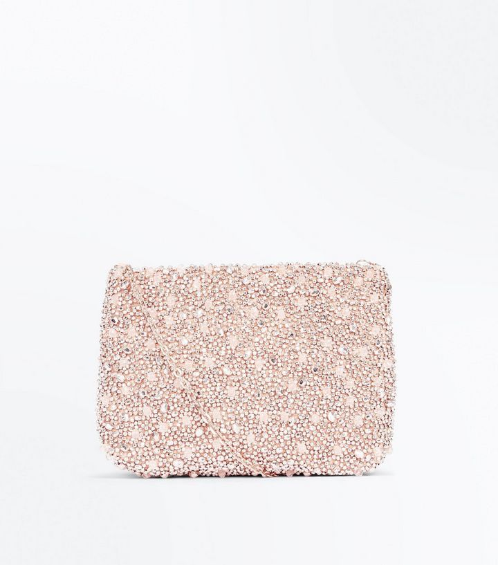Rose Gold Beaded Flat Clutch Bag The Look