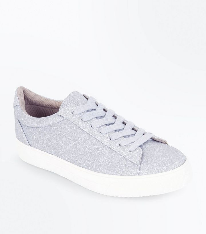 3564aeb31e5d Silver Glitter Lace Up Trainers | New Look