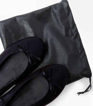 Black Shimmer Foldover Ballet Pumps New Look