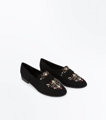 Black Suedette Cross Stitch Embroidered Loafers New Look